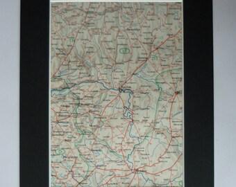 1930s Antique Map of Kaunas, Lithuania Decor, Available Framed, Ukmergė Art, Panevėžys Gift, Šiauliai Print, Marijampolė Print, Vilkaviškis