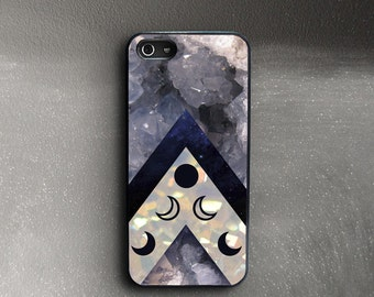 Crystals iPhone 5 Case, Moon Phases iPhone 5s Case Rubber Sides, iPhone 5c Case Druse, iPhone SE Case, iPhone 5 Cover