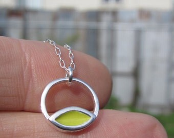 Lime and Violet Intersect Necklace - Reversible Silver and Enamel Pendant