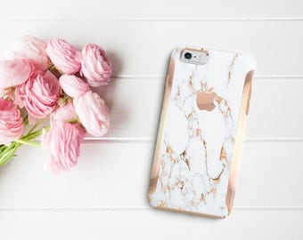 Platinum Edition Bianco Sivec Gold Marble with Rose Gold Hybrid Hard Case Otterbox Symmetry   / iPhone 7 / iPhone 8 /  iPhone X / Galaxy S9
