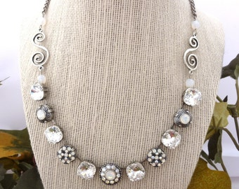 Swarovski Crystal Statement Necklace, 12mm Clear Cushion Cut, White Opal, Flower Embellished, Victorian, Art Nouveau ICE DIVA, FREE Shipping