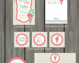 Ice Cream Party, Ice Cream Party Decorations, Ice Cream Birthday Party, Ice Cream Birthday Invitation, Ice Cream Birthday Party Decorations
