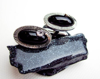 50s Onyx Snake Cuff Links, Genuine Black Onyx, Madmen Mid Century Modernism, White Metal w. Rhodium Plate, USA.