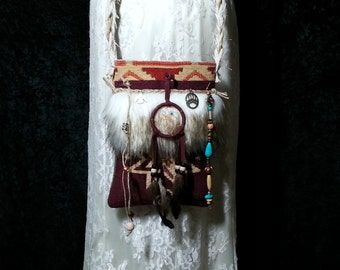 Native American Inspired SMALL Bag - Gypsy Cross Body Cell Phone Bag - Navajo Dream Catcher - Faux Arctic Wolf Fur -  Boho Hippie Bag