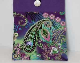 iPad Sleeve fully padded  in purple paisley