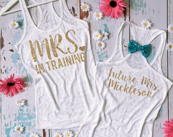 Mrs in training tank top. Bride Workout Shirt. Bridal Fitness Tank Top. Wedding Workout Shirt. Bride Exercise Tank Top. Future Mrs.