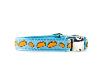 Taco Dog Collar - Foodie Aqua Turquoise Adjustable Metal Buckle or Plastic Buckle Dog Collar