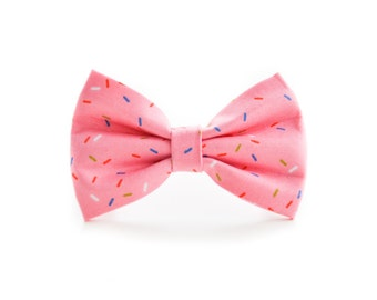 Pink Sprinkles Pet Bow Tie - Dog and Cat Birthday Detachable Bow