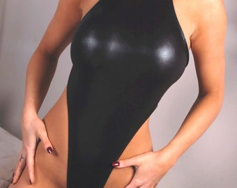Black four way wet look spandex bodysuit with thong rear