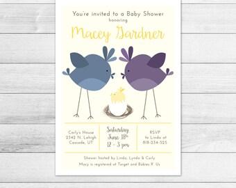 Bird's Nest Baby Shower Invitation, Gender Neutral Digital Printable Invite Yellow, Egg, Momma bird, Daddy bird