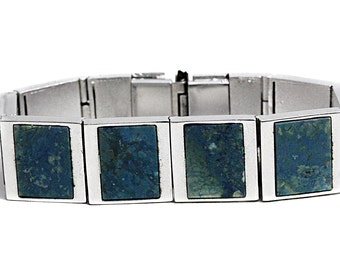 Chrysocolla Artisan Silver Bracelet Gemstone Rhodium Jewelers unique Jewelry semi precious Stones