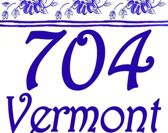 Cobalt blue delft house number plaque. Hand painted address sign.