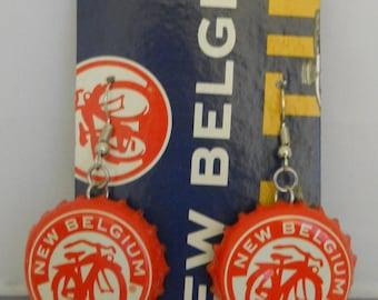 Fat Tire Recycled Bottle Cap Dangle Earrings