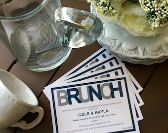Wedding Brunch Invitation 5x7 -  flat card, 24 invitations