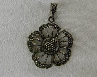 """Sterling Silver 925. Lovely Flower Pendant 1 1/2"""" Long ET. 6060"""