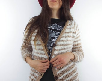 Vintage 90s Tan and White Fuzzy Striped Cardigan