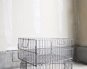 Vintage Metal Baskets - Set Of 2 - Vintage Metal Storage Baskets - Industrial Decor - Home Storage Bins - Vintage Wire Baskets - Crafts Bin