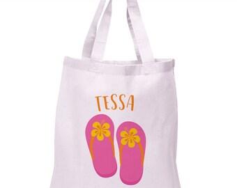Flip Flop Tote Bag | Beach Totebag | Flip Flop Canvas Tote | Personalized Tote Bag | Flip Flop Totebag