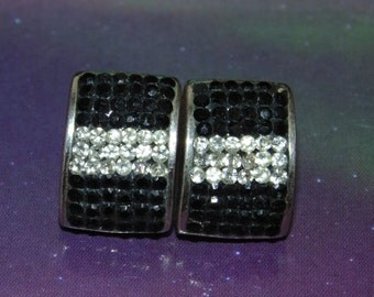 """SE329 Vintage Estate Sterling Silver Black And White Rhinestones Gorgeous Studs Earrings 6 grams 0.6"""" Inches Jewelry Jewellery 925"""