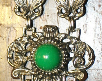 "Bracelet Rococo Revival-Style Green Bangle, 7 1/2""/ Valentine Sale was 30.00"