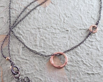 Delicate Rose Gold and Blackened Silver Necklace, Pink Gold Small Hammered Rings, Oxidized Sterling Silver Chain, Simple Jewelry by Shibusa