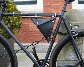 Leather bike bag/ Handmade/ Leather Bicycle Bag/Triangle Bag/ Tools box bag/ Black