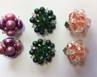 Vintage Cluster Earrings Clip on Cluster Earrings Fuchsia Green Peach Made in West Germany