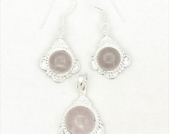 Adorable! New Rose Quartz 925 Sterling Silver Pendant/Earrings Set Jewelry A2229