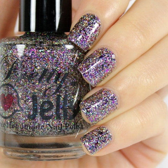 Pink And Blue Glitter Nail Polish: Glitter Nail Polish, Silver Holographic, Indie Lacquer