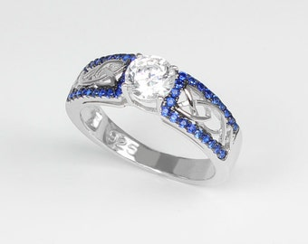 Diamond & Blue Sapphires Sterling Silver Ring / Sapphire Ring Silver / Diamond Engagement Ring