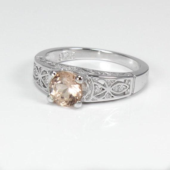 morganite ring sterling silver morganite ring silver