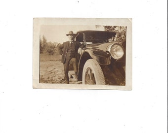 1920s Vintage Black & White Photo of Well Dressed Man with 1920s Model Car with Running Board, Great for Vintage Car Decor or Car Enthusiast