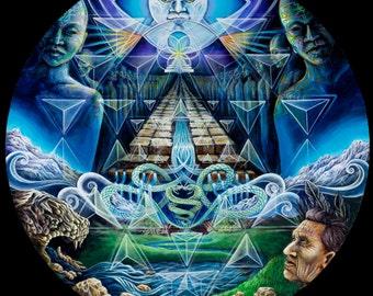 Ancient Initiation Visionary Art Print by Morgan Mandala - Ayahuasca Psychedelic Vision Quest Pyramid Sacred Art on Pearl Paper