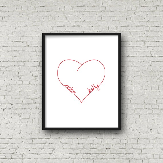 Personalised Heart Print, Love Heart Infinity, Couples Home Decor, Hand drawn Typography Print, Wedding Decor, Anniversary Gift, 8 x 10