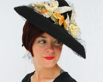 In-Stock: 1940s-Style Black Felt Wide Brim Tilt Hat with Vintage Veiling and Vintage Orchids