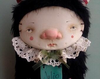 Julio The little monster, art doll, wall art, monster doll