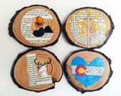 Colordao Coasters from Rustic Wooden Discs - Set of 4 Upcycled Paper & Paint Colorado Pride Coasters