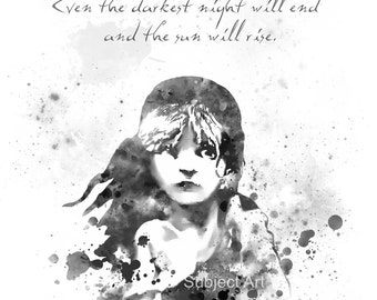ART PRINT Les Miserables illustration, Black and White, Victor Hugo Quote, Film, Movie, Wall Art, Home Decor