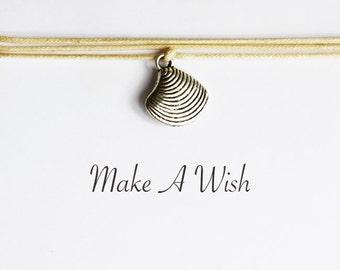 Make A Wish Shell Bracelet - Bohemian Jewellery, Friendship Bracelet, Boho, Beach, Choose Color