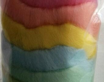 10 Spring Pastel Colours - Needle Felter's Palette - Merino Wool Roving