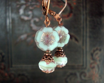 Mint and Lavender Czech Glass Flower Earrings - Copper Leverback Earrings - Light Green Purple Colorful Jewelry Vintage Style Floral Jewelry