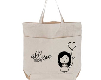 Bridesmaid Canvas Tote Bag with Pockets, Large, Handlettered, Couple Cartoon Characters Portrait Wedding Gift, Custom Natural Utility Tote