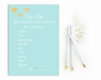 Price is Right Baby Shower Game Printable, Blue Price is Right Game, Gold Glitter, The Price is Right Baby Shower, Boy Shower Games, Digital