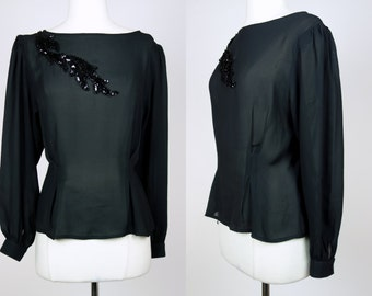 1980s black top, sheer sequin polyester chiffon long sleeve blouse, Large