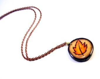 Autumn Leaf Necklace, Autumn Leaf Pendant, Orange Leaf Necklace, Fall Leaf Necklace, Fall Leaves, Wood Burned Necklace, Pyrography