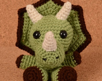 Keras the Triceratops Dinosaur Crochet Toy Doll