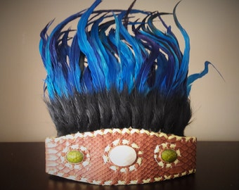 Indian Style headband with black fur and electric blue feathers
