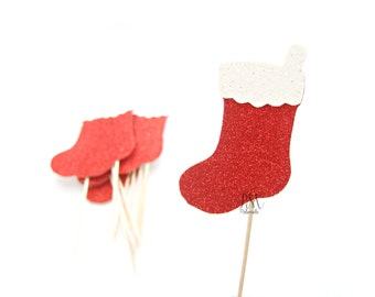 12 Glitter Christmas Stocking Cupcake Toppers - Christmas Cupcakes, Christmas Cupcake Toppers, Christmas Party Picks, Christmas Food Picks