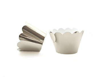 12 Silver Mirror Scallop Cupcake Wrappers - Cupcake Liners, Cupcake Cases, Cupcake Wrapper, Muffin Cups, Muffin Wrappers