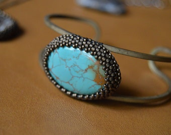 Bead Embroidered Turquoise & Brass Cuff Bracelet